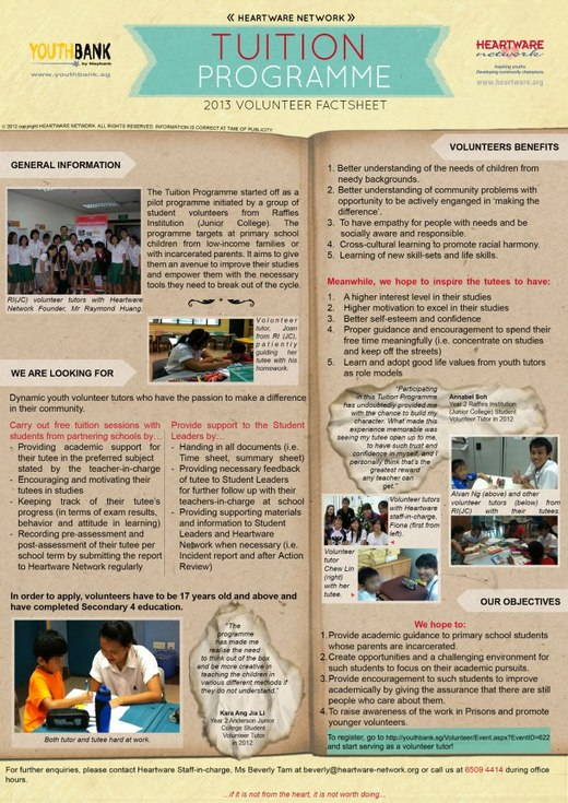 Volunteer Tutors for Heartware Network Tuition Programme 2013