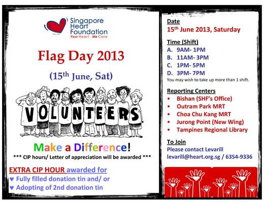 Singapore Heart Foundation Hearty Flag Day (15 Jun 2013)