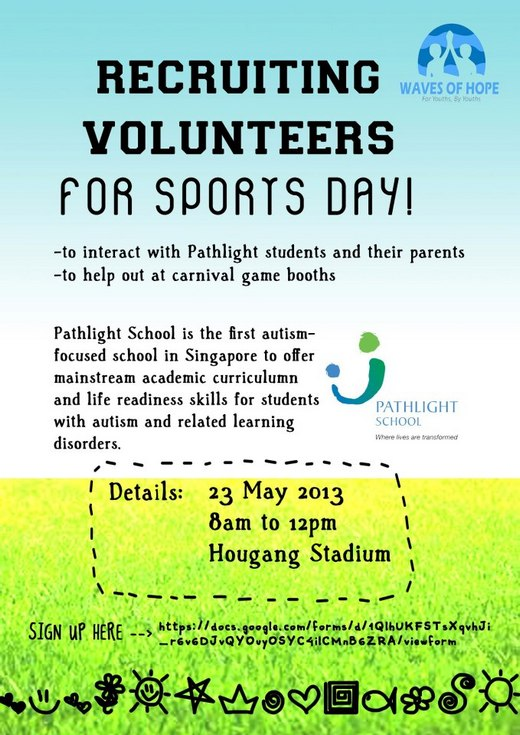 Recruiting Volunteers for Pathlight School Sports Day 2013