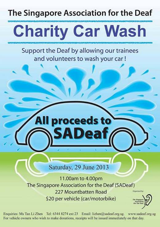 Singapore Association for the Deaf Charity Car Wash on 29 June 2013