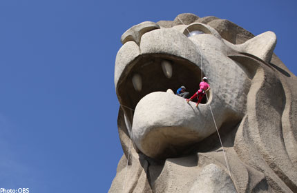Donors abseil down Merlion for good cause