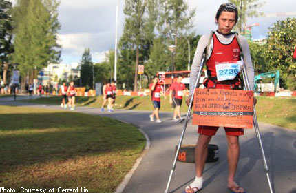 Running 10km on crutches while pulling a tyre