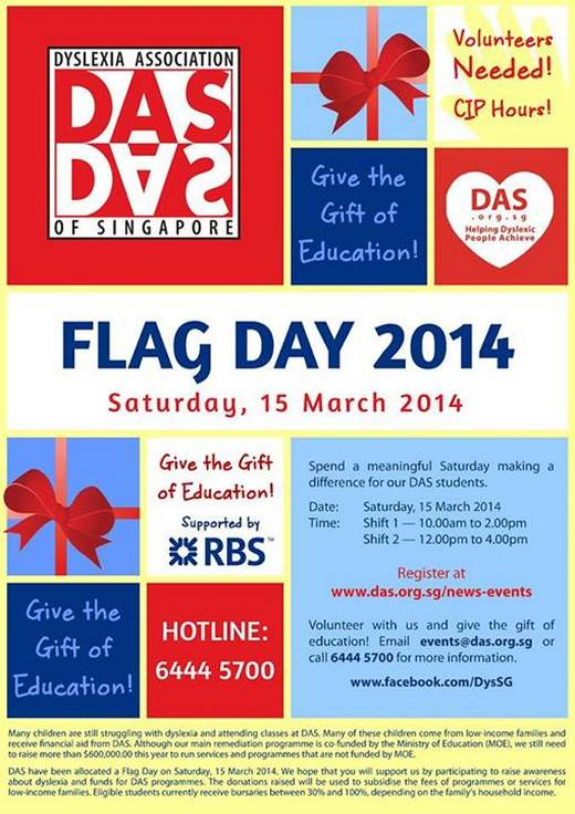 Volunteers needed for Dyslexia Association of Singapore Flag Day 2014
