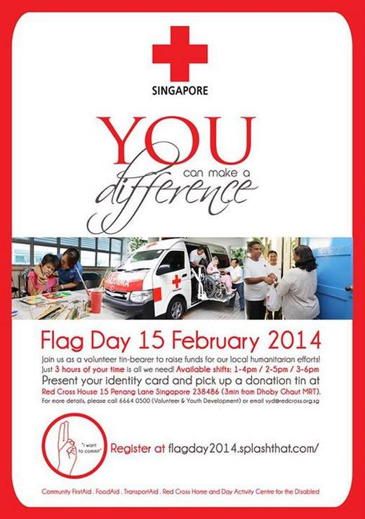 Volunteers needed for Singapore Red Cross Flag Day 2014