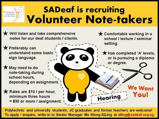Recruitment for Volunteer Note-Takers