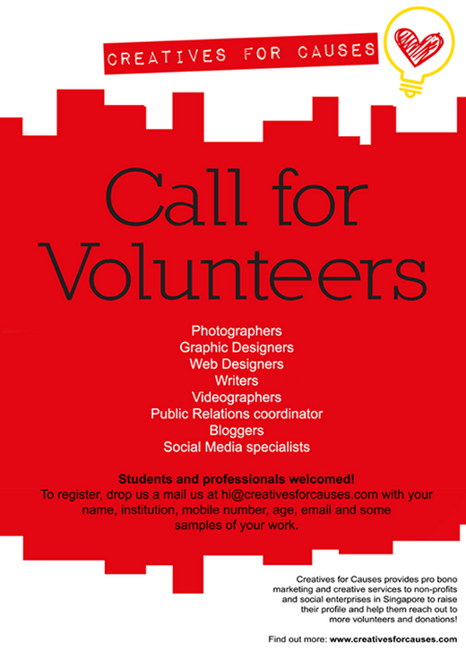 Creatives for Causes- Call for Volunteers