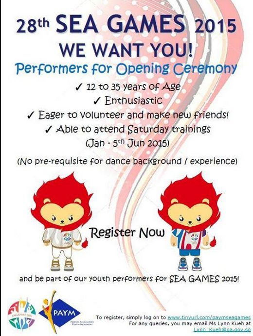 Volunteers needed for 28th SEA GAMES 2015 Opening Ceremony!