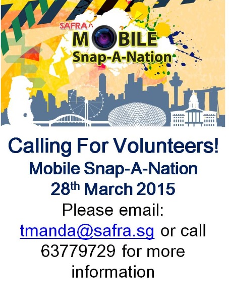 ​SAFRA Volunteer Recruitment For Mobile Snap-A-Nation 2015