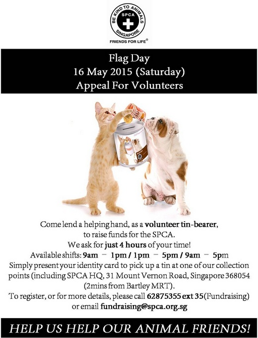 Volunteers needed for SPCA Flag Day 2015