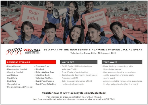 Volunteers needed for OCBC Cycle 2015