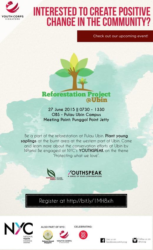 Volunteers needed for Reforestation Project @ Ubin on 27 June 2015