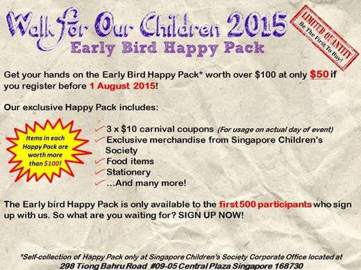 Walk for Our Children 2015 - Early Bird Happy Pack