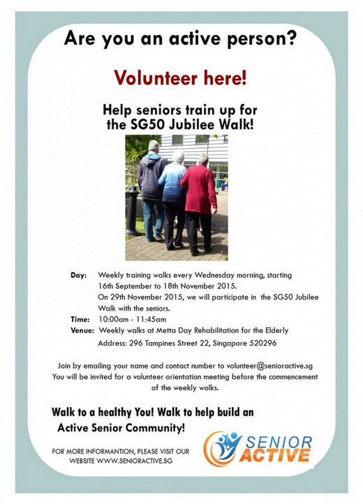 Help seniors train up for the SG50 Jubilee Walk