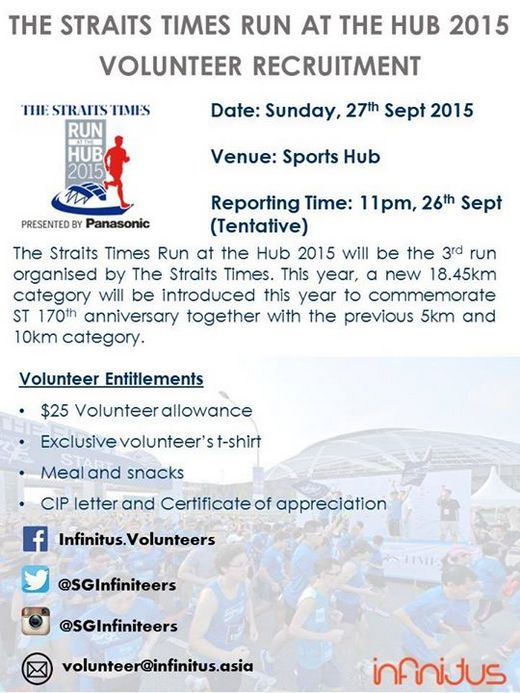The Straits Times Run @ Singapore Sports Hub 2015 Volunteer Recruitment