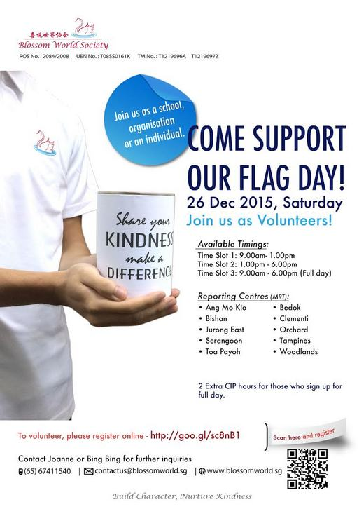 Volunteers needed for Blossom World Society Flag Day 2015