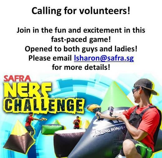 SAFRA NERF Challenge 2016 Volunteer Recruitment