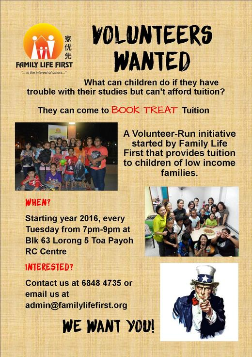 Volunteer as a Tutor for Family Life First's Book Treat Tuition Programme