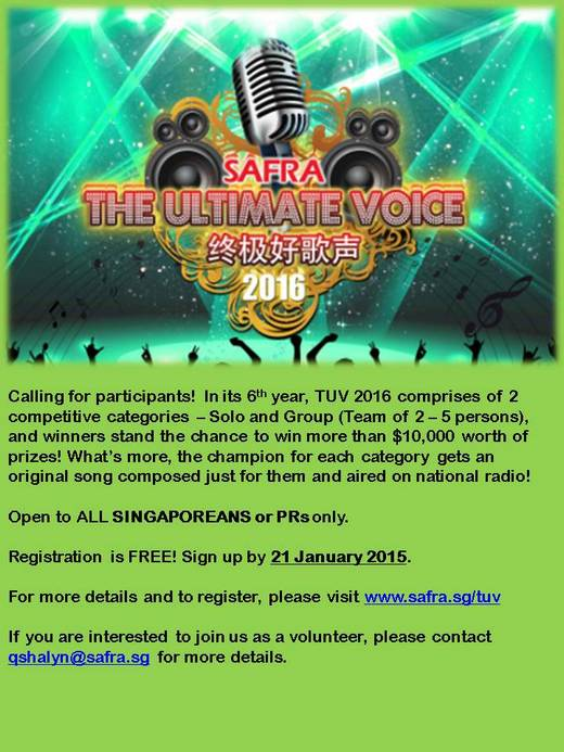 Volunteers needed for The Ultimate Voice 2016