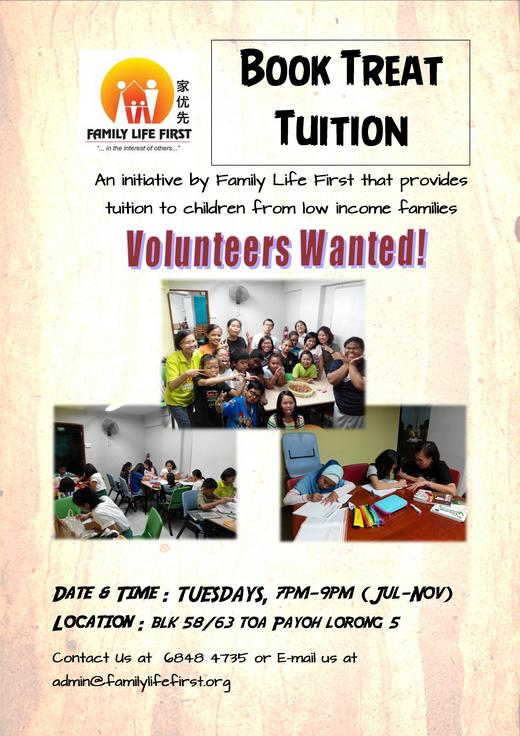 Volunteer Tutors needed for Book Treat Tuition Programme