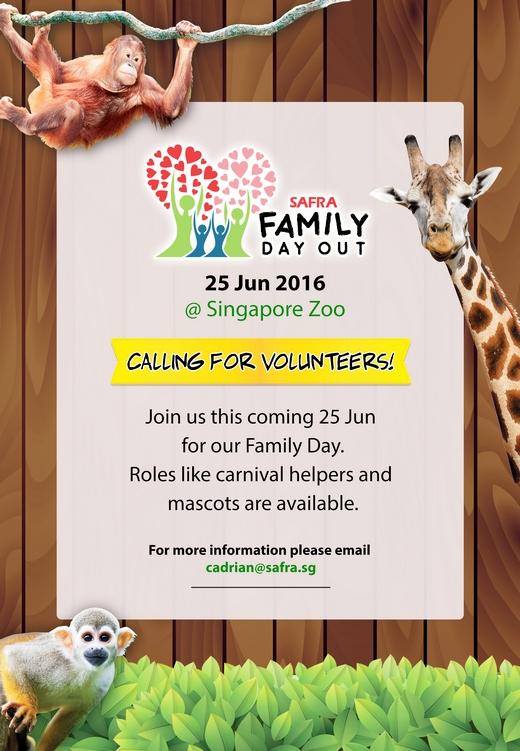SAFRA Family Day Volunteer Recruitment (25 Jun 2016)