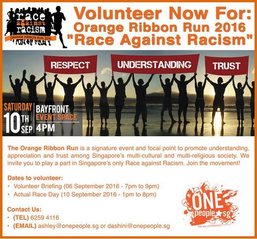 Volunteer for Orange Ribbon Run 2016 - Race Against Racism