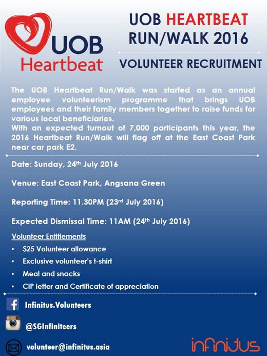 Volunteer Recruitment for UOB Heartbeat Run & Walk 2016