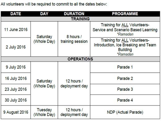 Volunteers needed for NDP 2016