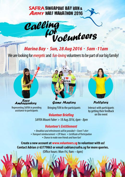 Volunteering Opportunities at SAFRA Singapore Bay Run & Army Half Marathon 2016
